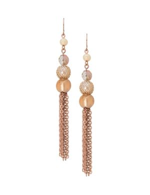 Lane Collection beaded chain tassel earrings