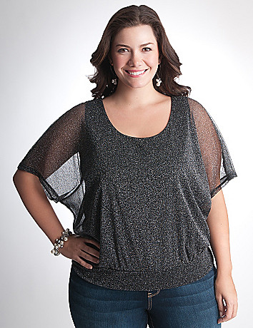 Plus Size Banded Bottom Sparkle Top by Lane Bryant