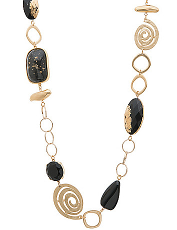 Lane Collection black & goldtone necklace