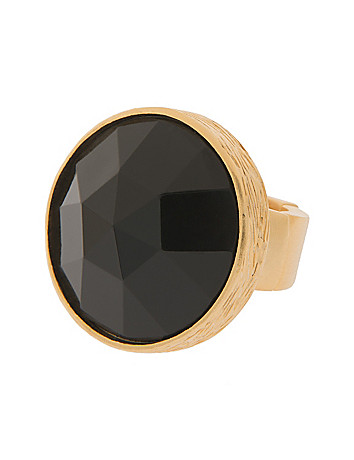 Lane Collection faceted black & goldtone ring