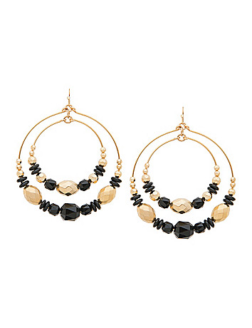 Lane Collection black & goldtone hoop earrings