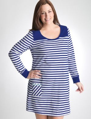 Striped long sleeve sleep shirt