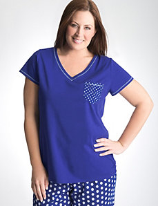 Full Figure Polka Dot Sleep Tee by Cacique