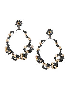 Black & Goldtone Hoop Earrings by Lane Bryant