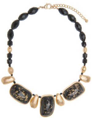 Lane Collection black & goldtone bead necklace
