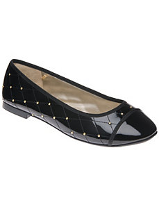 Wide Width Embellished Quilted Ballet Flats by Lane Bryant