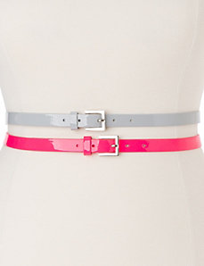 Patent skinny belt duo by Lane Bryant