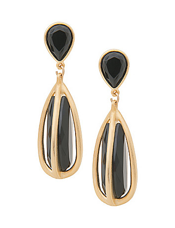 Black & goldtone pendant earrings