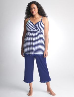 Striped cami & crop PJ set
