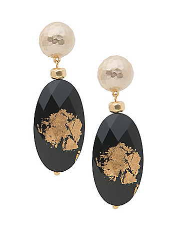 Black & goldtone oval drop earrings