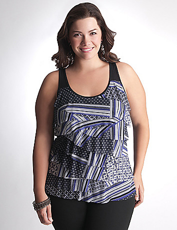Full Figure Print Tiered Tank by Lane Bryant