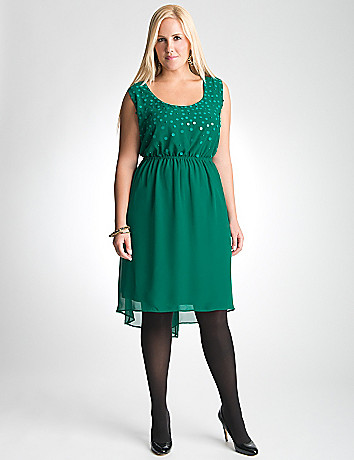 Plus Size Sequin High Low Dress by Lane Bryant
