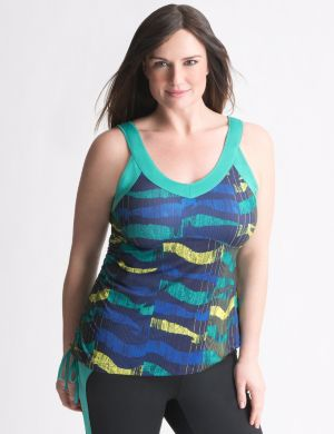 Shirred print tank by Reebok