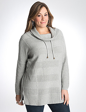 Cowl waffle stripe sweater
