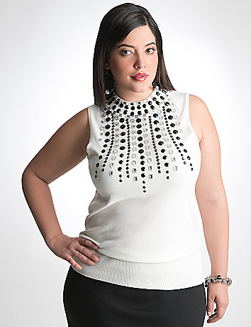Embellished Mock Neck Sweater by Lane Bryant