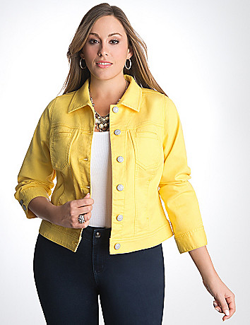Plus Size colored denim jacket by Lane Bryant
