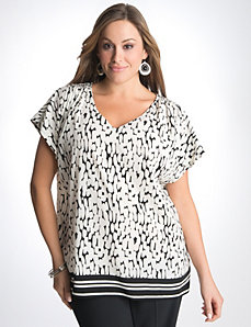 Pebble print short sleeve blouse by Lane Bryant