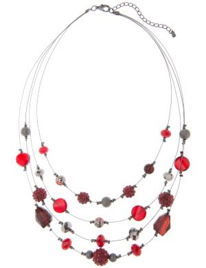 Faux garnet nested illusion necklace by Lane Bryant