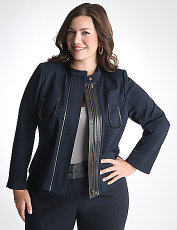 Leather trim ponte jacket by Lane Bryant