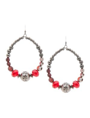 Faux garnet & hematite hoop earrings by Lane Bryant