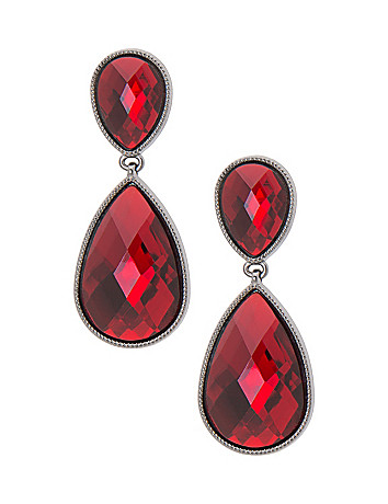Faux garnet teardrop earrings by Lane Bryant