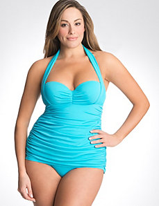 Plus size one piece retro maillot swimsuit
