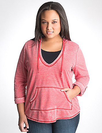 Washed pullover hoodie by Lane Bryant