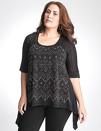 Embellished shark bite tunic by Lane Bryant