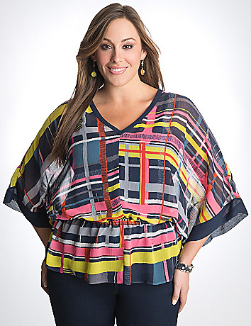 Plus Size Sheer Plaid Top by Lane Bryant