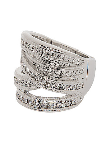 Criss cross rhinestone ring by Lane Bryant