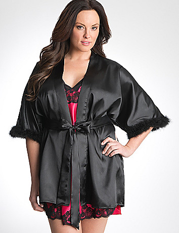 Plus Size Feather Trim Robe by Cacique