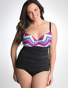 Striped swim tank with built-in balconette bra by Cacique