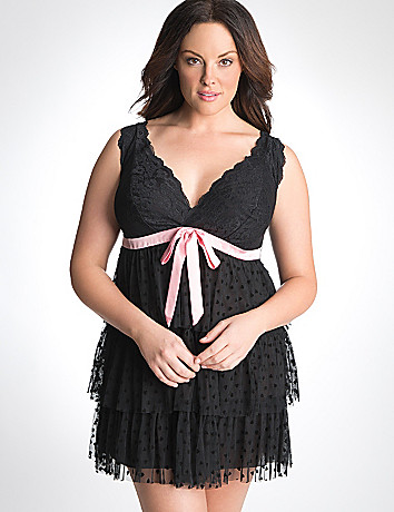 Plus Size Heart Mesh Babydoll by Cacique