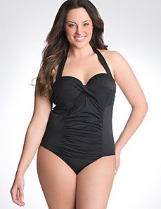 Twist front swim tank with built in balconette bra
