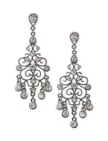 Rhinestone chandelier earrings by Lane Bryant