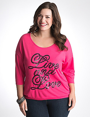Live and Love sequin dolman top by Lane Bryant