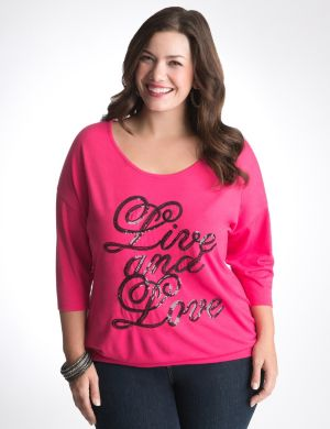 Live and Love sequin dolman top