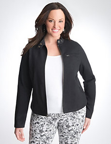Plus Size Terry Moto Jacket by Lane Bryant