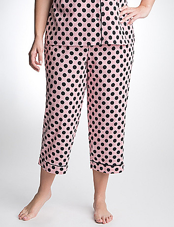 Polka dot knit sleep crop by Cacique