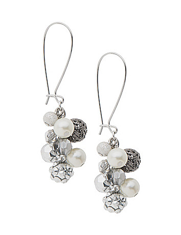Faux pearl cluster earrings by Lane Bryant
