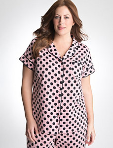 Plus Size Polka Dot Button-up Sleep Top by Cacique