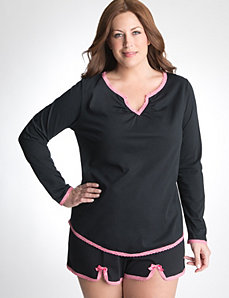 Plus Size Lace Trim Sleep Tee by Cacique