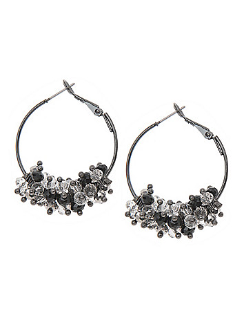 Cluster bead hoop earrings by Lane Bryant