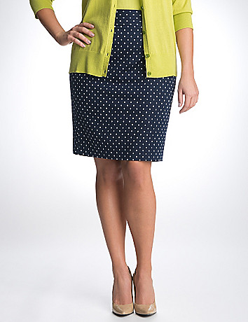 Full figure polka dot pencil skirt