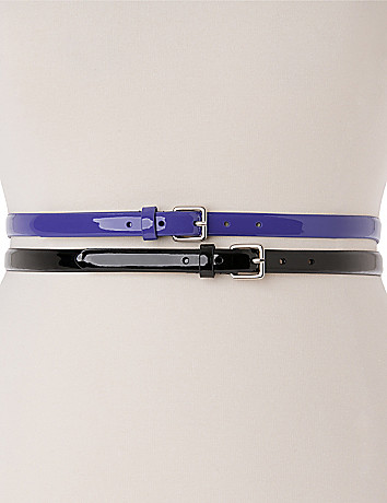 Plus Size Patent Skinny Belt Duo by Lane Bryant