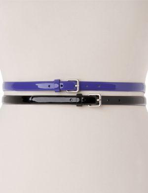 Patent skinny belt duo