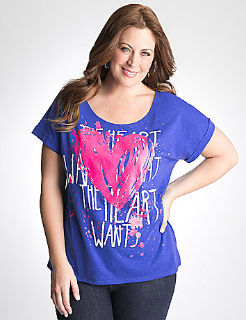 Plus Size Heart High Low Top by Lane Bryant
