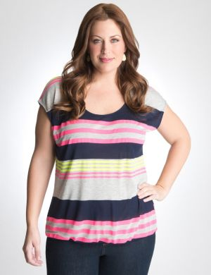 Striped bubble hem top