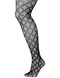 Diamond pattern fishnet tights