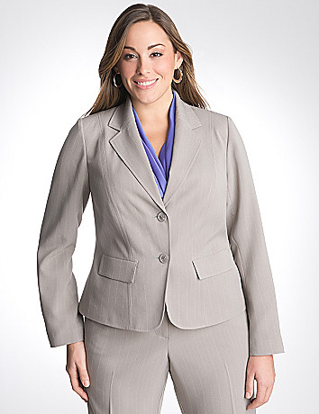 Plus Size Dashed Pinstripe Jacket